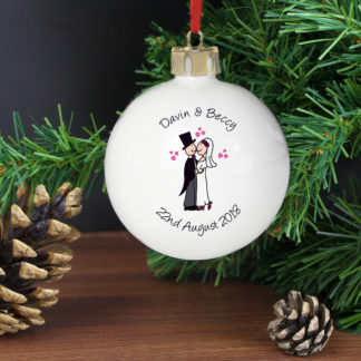 Personalised Cartoon Couple Wedding Bauble