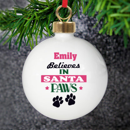 Personalised Santa Paws Bauble