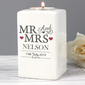 Personalised Mr & Mrs Ceramic Tealight Candle Holder