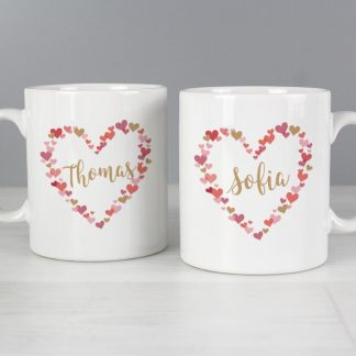 Personalised Confetti Hearts Wedding Mug Set