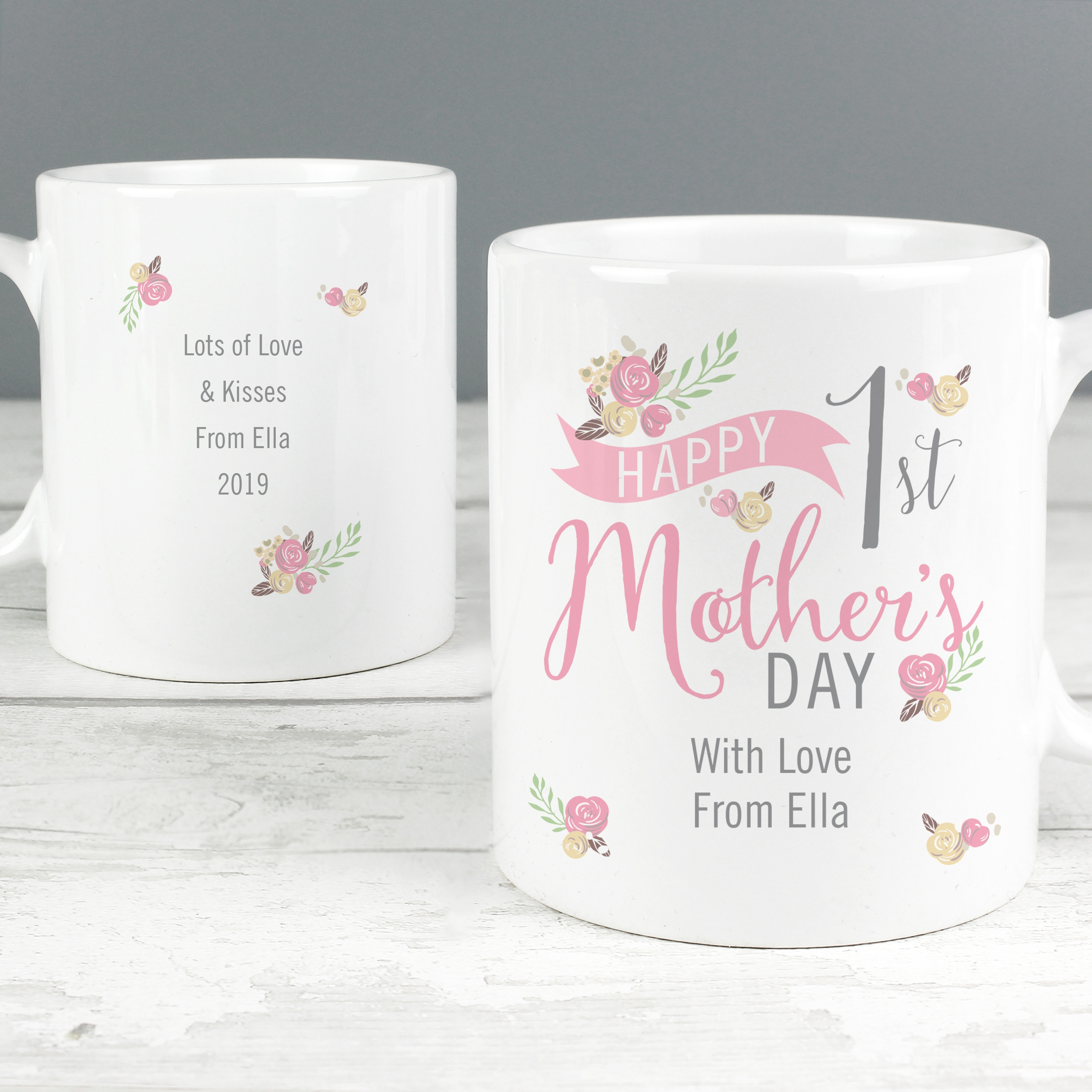 Personalised Floral Bouquet 1st Mothers Day Mug