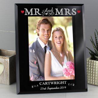 Personalised Bling Mr & Mrs Black Glass 7x5 Photo Frame
