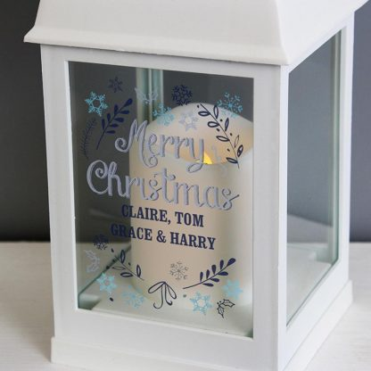 Personalised Christmas Frost White Lantern