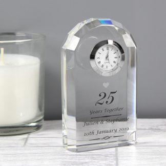 Personalised Silver Anniversary Crystal Clock