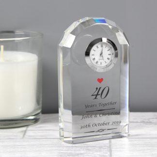 Personalised Ruby Anniversary Crystal Clock