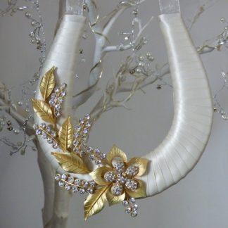 Wedding Horseshoe Ivory Ribbon Handmade with Antique Gold Flowers