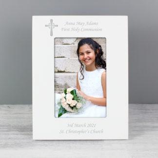 Personalised 6x4 Cross Motif White Photo Frame