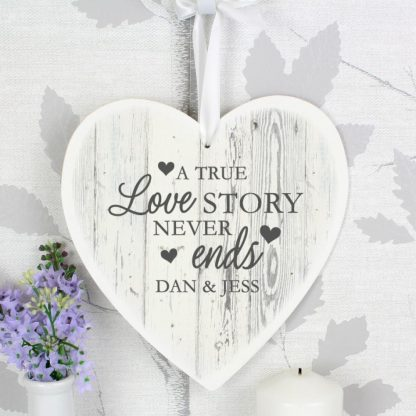 Personalised Love Story Large Wooden Heart Decoration