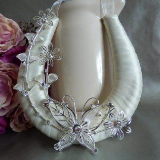 Handmade Ivory Ribbon Wedding Horseshoe, Organza Loop with Silver Butterfly