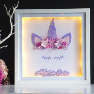 Personalised Framed Unicorn with LED Lights