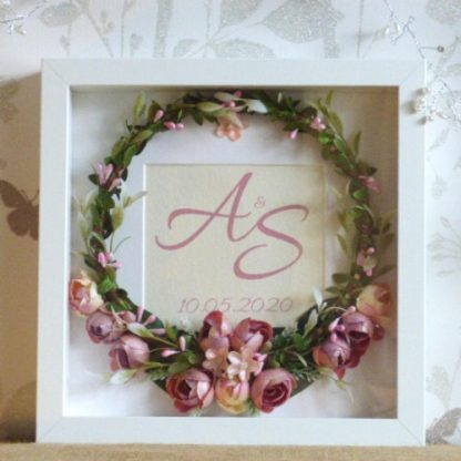 Personalised Framed Wedding Silk Flower Ring Handmade