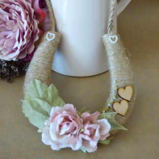 Personalised Wedding Horseshoe Rustic Twine with Pink Roses