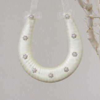 Handmade Ivory Ribbon Horseshoe with 9 Diamante & Pearl Decorations