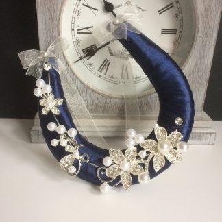 Wedding Horseshoe Handmade Navy Blue Ribbon with Diamante & Pearls