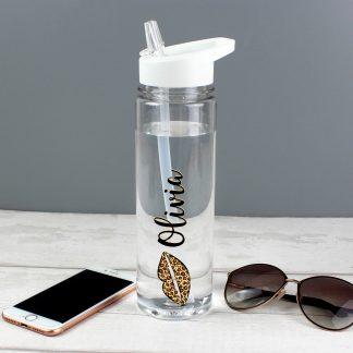 Personalised Leopard Lips Island Water Bottle