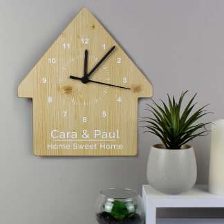 Personalised Wood Grain Design House Shape Wooden Clock