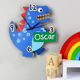 Personalised Dinosaur Shape Wooden Clock