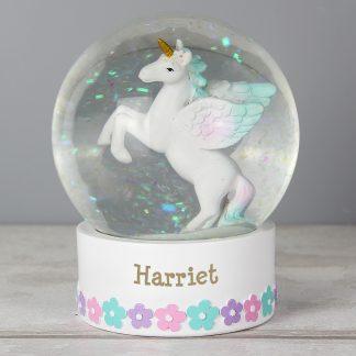 Personalised Unicorn Name Snow Globe