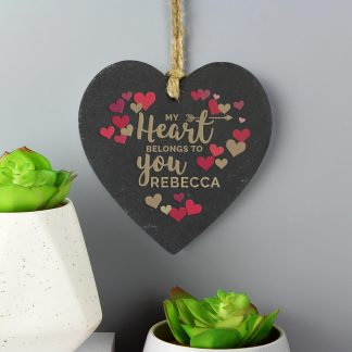 Personalised 'My Heart Belongs To You' Confetti Hearts Slate Heart Decoration