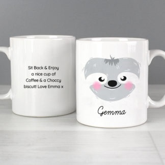 Personalised Cute Sloth Face Mug