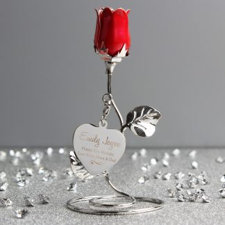 Personalised White Bronze Plated Swirls & Hearts Red Rose Bud Ornament