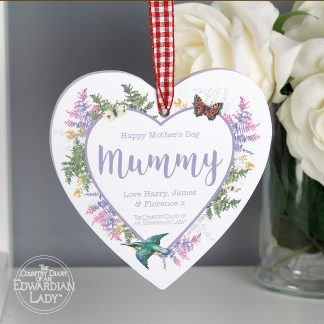 Personalised Country Diary Botanical Wooden Heart Decoration