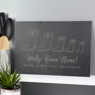 Personalised Welly Boot Family of Five Slate