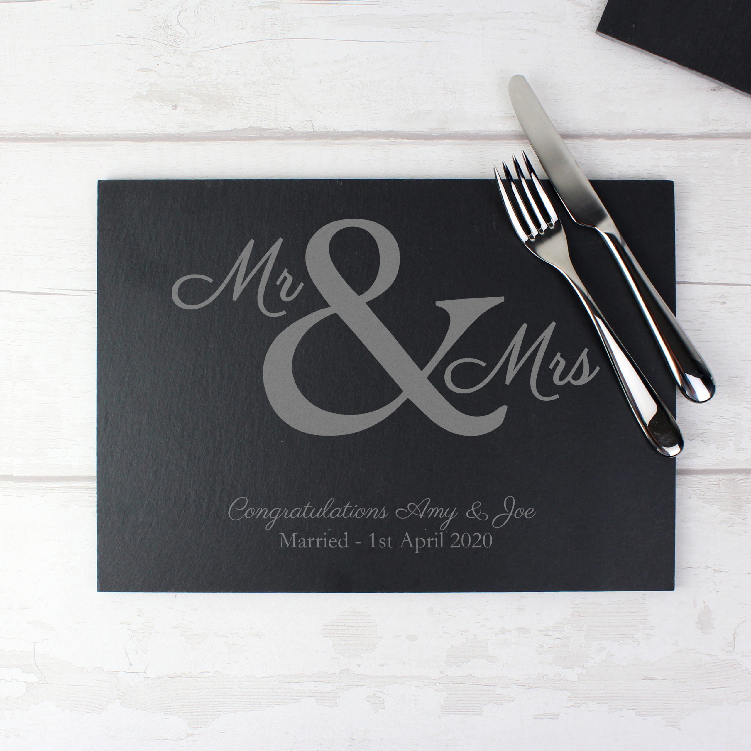 Personalised Mr and Mrs Slate Placemat