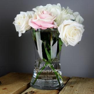 Personalised 'Happy Anniversary' Glass Vase