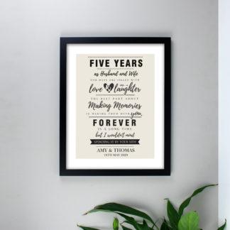 Personalised Anniversary Black Framed Print