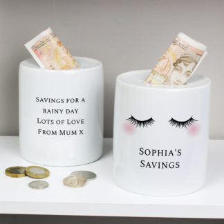 Personalised Eyelashes Ceramic Money Box
