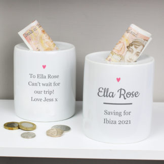 Personalised Pink Heart Motif Ceramic Money Box