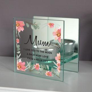 Personalised Floral Sentimental Mirrored Glass Tea Light Holder
