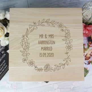 Personalised Floral Wreath Large Wooden Keepsake Box