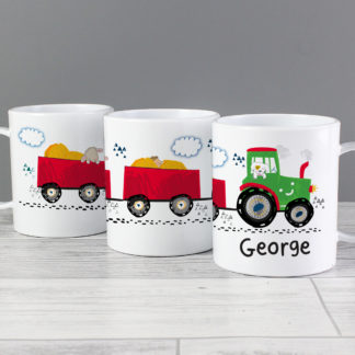 Personalised Tractor Plastic Mug