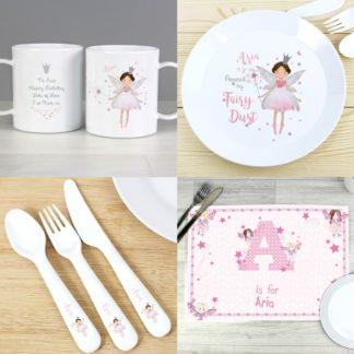 Personalised Fairy Princess 6 Piece Plastic Dinner Set