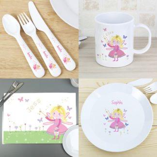 Personalised Garden Fairy 6 Piece Plastic Dinner Set