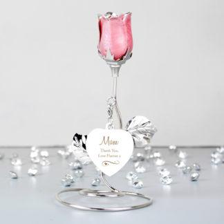 Personalised Swirls & Heart Pink Rose Bud Ornament