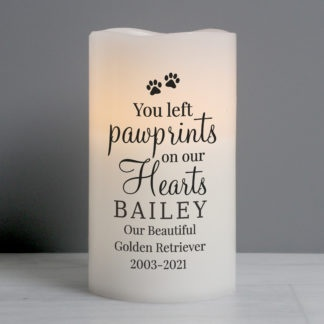 Personalised Pawprints On Our Hearts LED Candle