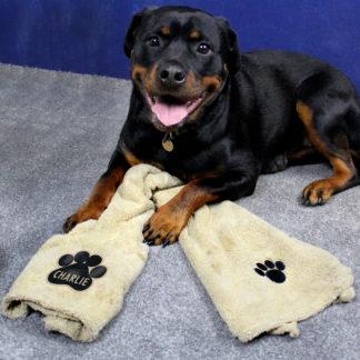 Personalised Paw Print Brown Microfiber Pet Towel