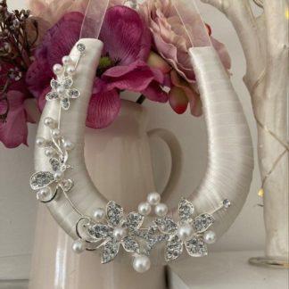 Ivory Ribbon Wedding Day Horseshoe Handmade with Diamante & Pearls