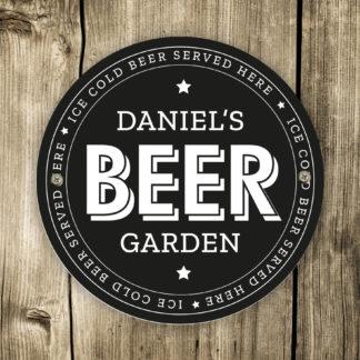 Personalised Beer Garden Black Plaque