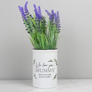 Personalised Botanical Straight Sided Flower Pot