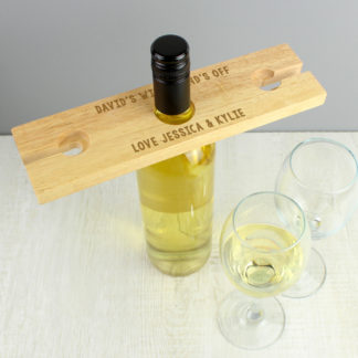 Personalised Free Text Wine Glass & Bottle Butler