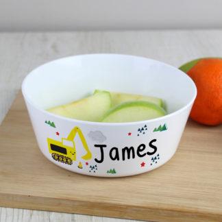 Personalised Digger Plastic Bowl