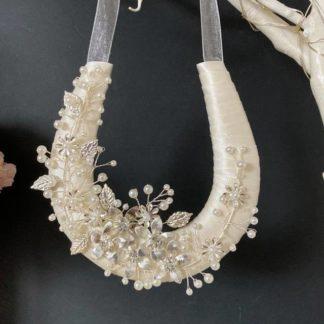 Wedding Day Horseshoe Ivory Ribbon with Silver Flower & Leaf Decor
